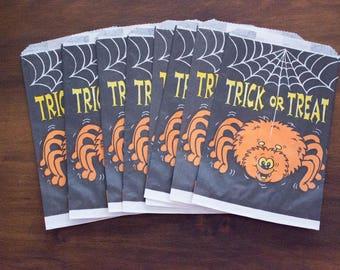 Lot of 8 Vintage Fun-World Trick or Treat Black Paper Treat Bags w/ Orange Spider & Web