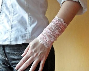 Pink Lace Wristband, Lace Bracelet Cuff, Set of 2 Bracelets, Pink Bracelet, Boho Wrist Cuff, Tattoo Cover up, Fingerless Lace Gloves, B1123