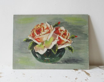 Antique french oil painting on panel, 1940, 1950, Signed, Vintage Bouquet Rose Flower, Still life, France