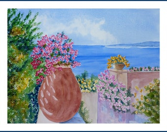 Watercolor - View of the sea from the garden