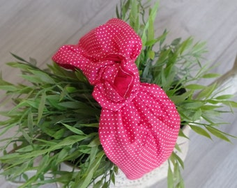 Red Turban Cerchiettto with white polka dots