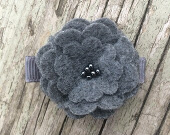 Charcoal Gray Beaded Felt Flower Hair Clip Clippie Babies, Toddlers, Girls