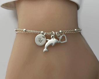 Personalised Dolphin Bracelet in Sterling Silver - Dolphin jewelry, Sea Bracelet, Beach Bracelet, Silver Bracelet
