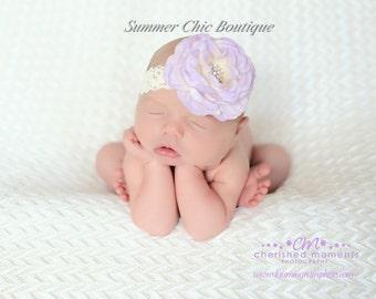 Lavender Baby Headband, Newborn Headband, Infant Headband. Toddler Headband, Girls Headband , Lace Headband