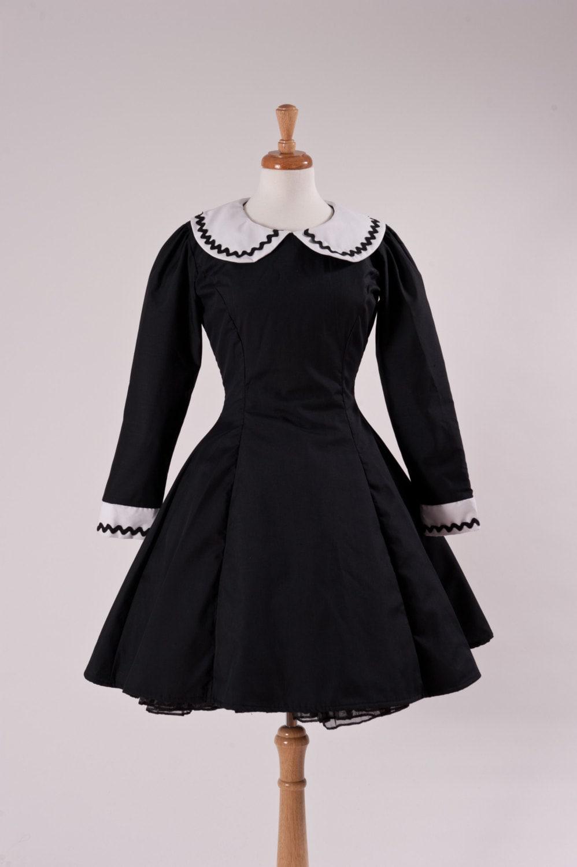 Black Goth Gothic Dress White Collar Aline Peter Pan Collar