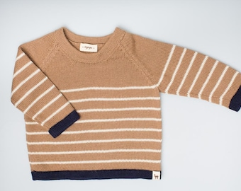 Kids knit pullover / baby alpaca wool camel brown and navy sweater / pullover / toddler / baby / girl / boy