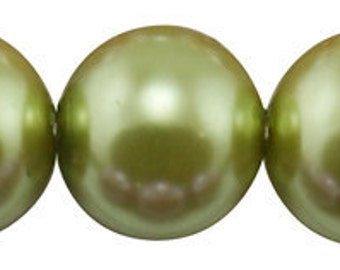 4mm Yellow Green Glass Pearl Beads - 32 inch strand
