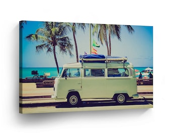 Classic Volkswagen Van Green at the Beach Palm Trees Canvas Print Home Decor / Old Bus / Camper/ Wall Art Gallery Wrapped /Ready to Hang
