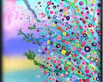 Abstract whimsical and colorful floral painting