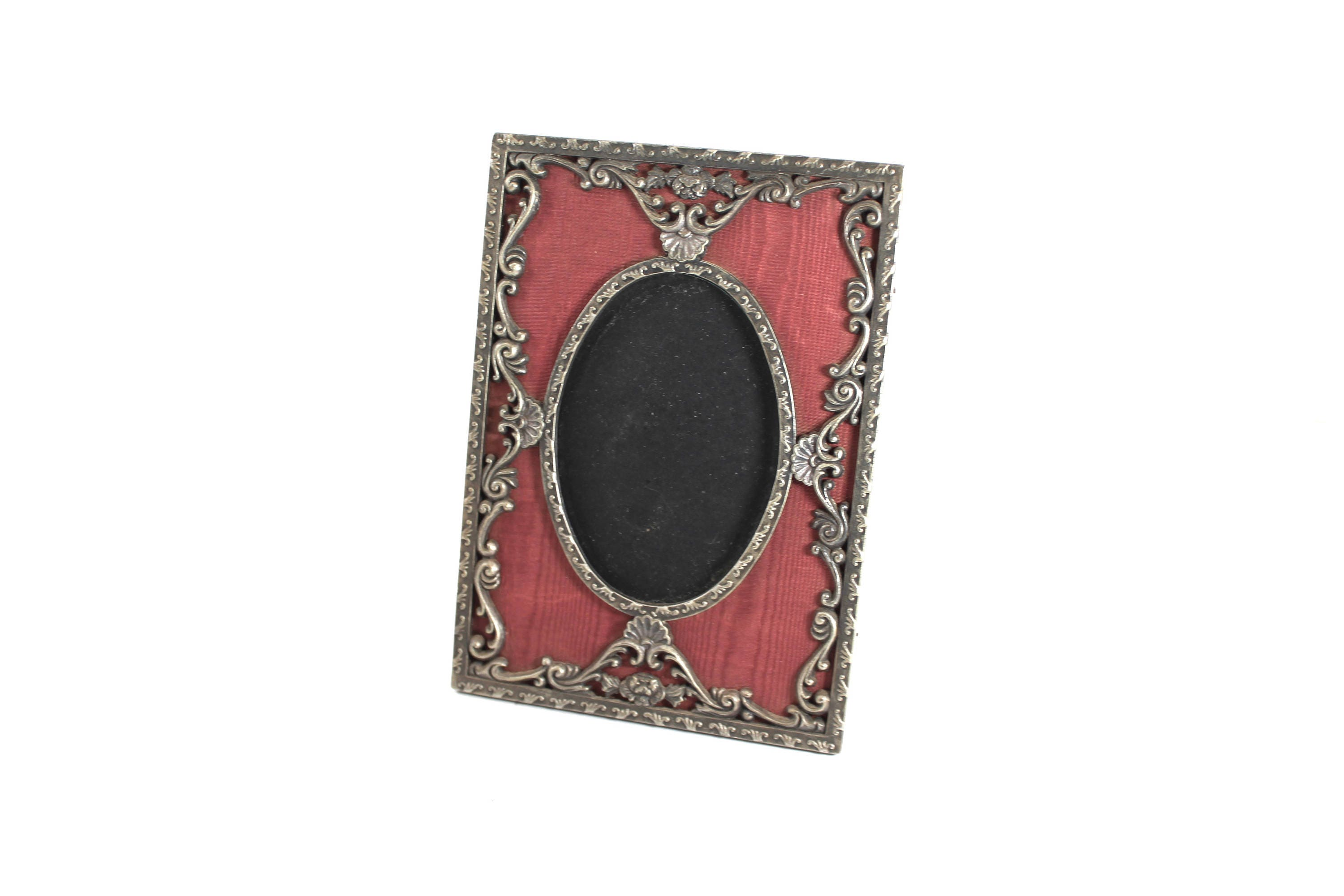 Vintage 3x4 oval picture frame with brass-tone metal and burgundy ...