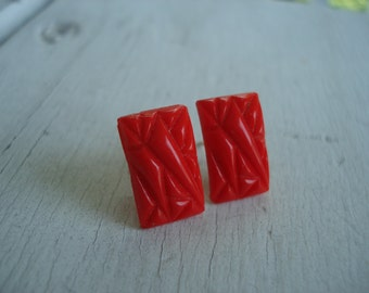 Art Deco Vintage Carved Red Glass Cabochons Pierced Earrings