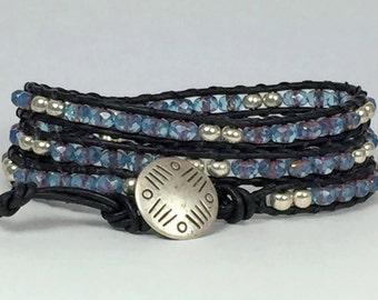 Beaded Leather Wrap Bracelet, Beaded Leather Bracelet, Beaded Wrap Bracelet, Wrap Bracelet, Triple Wrap Bracelet, Wrap Bracelets for Women