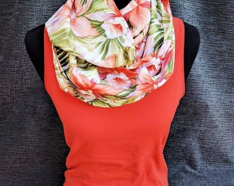 Hawaiian Scarf, Tropical Scarf, Hawaii, Flower Scarf, Coral Scarf, Hibiscus, Fashion Scarf, Patterned Scarf, Mother's Day Gift, Flower Cowl