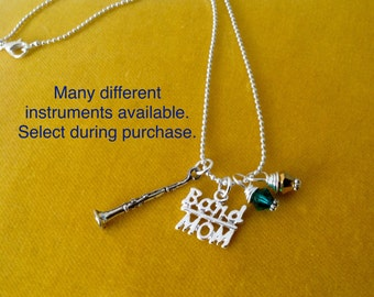 Band Mom Necklace, High School Marching Band, Custom jewelry, Instruments, Flute, Trumpet, Trombone, French Horn, Clarinet,