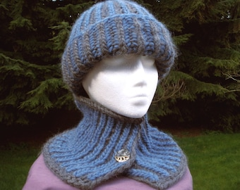 Reversible Brioche Rib Cap and Scarf Combo PDF Digital Download Knitting Pattern Patons Classic Wool Roving