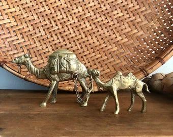 vintage small brass camels miniature boho decor