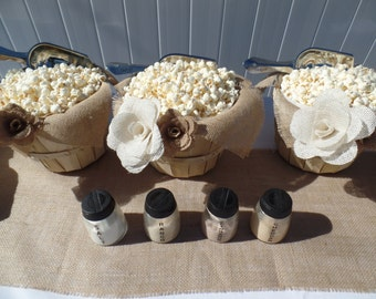 Popcorn Bar | Medium Burlap Basket | Burlap Flower | Party in a Box