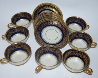 Vintage Rosenthal Cobalt Blue Gold Ivory Cups & Saucers Set of 7