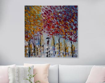 "Large Original Oil Painting On Canvas, 'In Love', Huge Landscapes Painting, wall art, Salon Painting, 39"" X 39"" Inches (100 cm x 100 cm)"