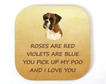Boxer I LOVE YOU Coaster Drinks Mat From The Dog Fun Gift