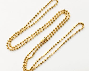 Bulk 50 strands of gold plated brass ball chain with connector 24 inch 1.5mm ball