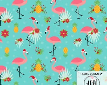 Flamingo Christmas Fabric By The Yard / Tropical Christmas / Flamingos Wearing Santa Hats / Ugly Sweater Fabric Print in Yard & Fat Quarter
