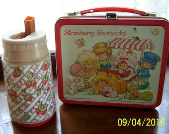Vintage Strawberry Shortcake Metal Lunch Box and Thermos American Greetings 1981