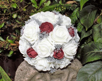 Artificial  Ivory, Burgandy, and Silver Bridal/Bridesmaids Posy Bouquet. wedding flowers