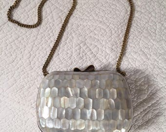 Mother of Pearl and Brass Purse with Chain