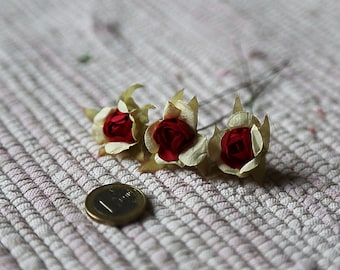 Small realistic paper flowers. Set of 3 white and red roses