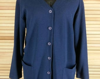 Vintage 90s navy blue cardigan sweater v neck long sleeves size S to M chest 42