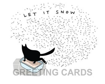christmas cards (5 cards), funny cat cards, black cat greeting cards, funny holiday cards, holiday cards, secular holiday cards