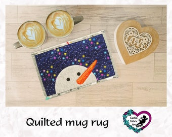 Snowman mug rug, Christmas snowman, snowman gifts, snowman decor, Christmas decor, Christmas mug rug, gifts for her, homeware gifts