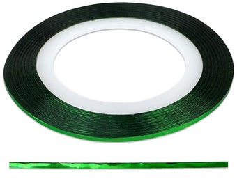 Green 1.0 mm Nail Striping Tape - No Glue Needed! - For Nail Art, Nail Designs and Patterns, Creating Flawless Manicures and Pedicures