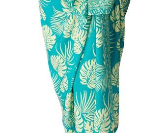 Hawaiian Beach Sarong Women's or Men's Beach Clothing Sarong Wrap Skirt - Batik Sarong Swimsuit Cover Up - Aqua & Cream Jungle Leaf Pareo