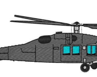 Black Hawk Military Helicopter Embroidery File