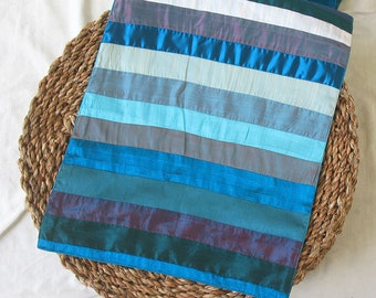 Striped Blue multicolored silk table runner 52X14 inches. Custom  made. choose  your colors.