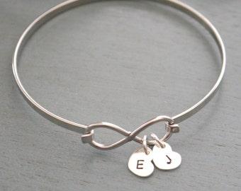 Personalized Infinity Bracelet, Infinity Initial Bracelet, Infinity Heart Bracelet, Grandma Bracelet, Love Gift, New Grandma Gift, Custom