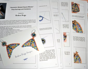 "PDF Digital Tutorial for the ""Geometric Warped Square Mosaic Drop Earrings"""