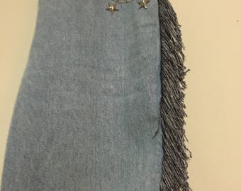 Vintage Monique Jeans with Fringe and Star Bedazzles