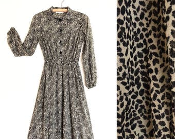 80s Dress | Abstract Print Secretary Dress | M / L