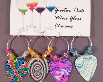 "Guitar Pick Wine Glass Charms ""Swirls"""