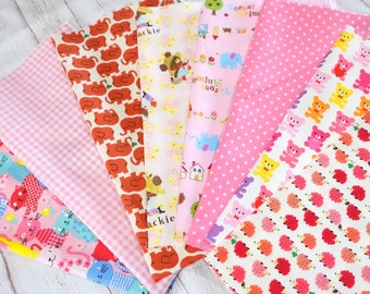Value set Japanese fabric animals Print and basic dots  scrap set of 8  pieces sc07
