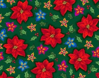 Christmas Splendor, Medium Poinsettias & Tiny Decorative Flowers on Forest Green, Quilting Treasures (By YARD)~