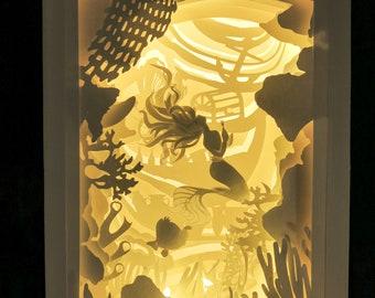 Out of THE SEA-Light box-Shadow box-Regalo-Fatto a mano-Handmade-Wedding-Love-Regalo originale-Paper-arte-Disney-Paper cut art-Mermaid
