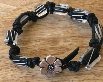 Knotted Leather Bracelet - Black and White Lampwork Bead Knotted Leather Cord Bracelet