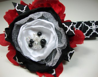 Black White Wine Floral Dog Collars Large