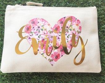 Heart Personalised make up bag | Personalised gift | Bridesmaid gift  | Anniversary | Wash bag | hen night gift | spring bag | flower bag