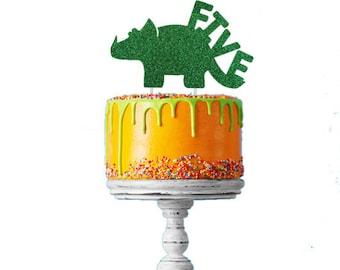 Dinosaur 5th Birthday Cake Topper - Number Five Dinosaur Cake Topper - Glittery Green Cake Topper - Boys Cake Topper