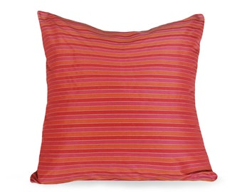 Red Striped Pillow, Red Accent Pillow, Red Pink Orange Pillow, Boho Pillow Covers, Red Orange Pillows, Red Cushion, Lumbar 12x18, 18, 20, 22
